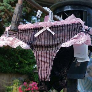 Sophie B. Black Pink Thong Bottoms